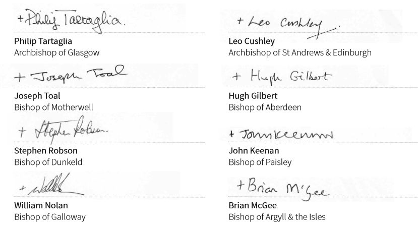 Signatures of the Bishops